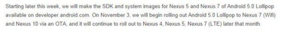Nexus 7 10 Android 5.0 Lollipop OTA update