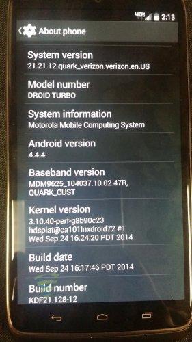 Verizon Droid Turbo - About Phone
