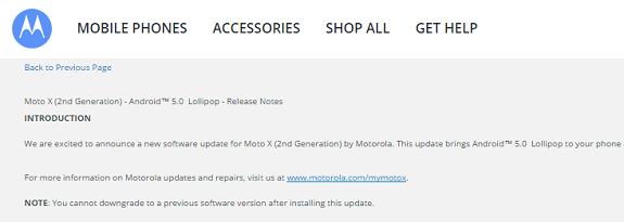 Moto X Android 5.0 lollipop