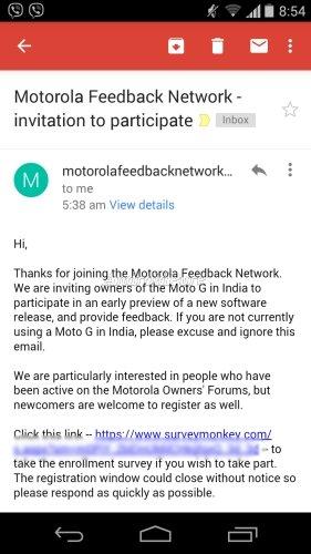 Moto G Android Lollipop Soak Test Invite India