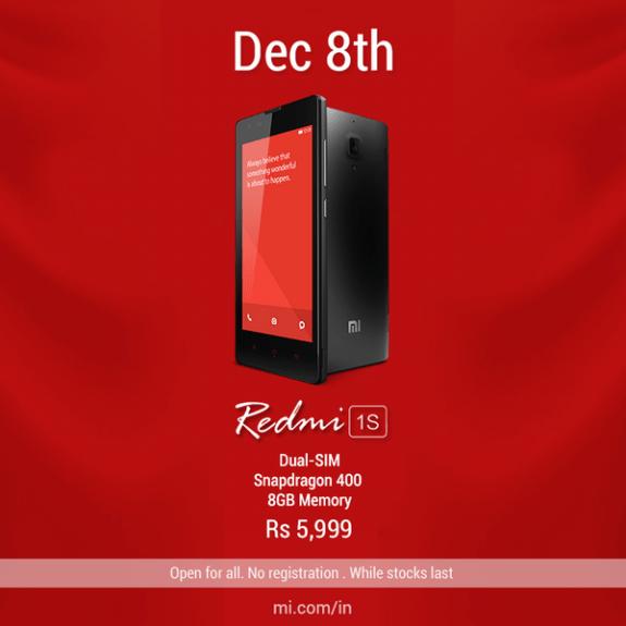 Redmi 1S open sale December 8
