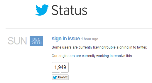 Twitter Status December 28th - Sign In Issue