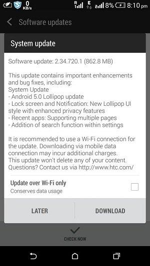 HTC Desire 816 Lollipop Update