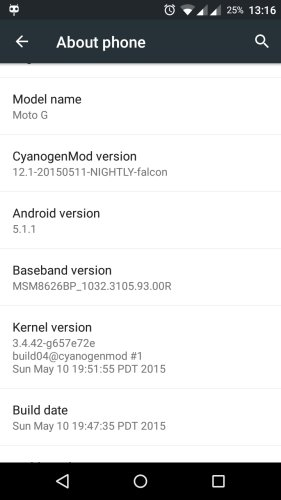MotoG XT1033 CyanogenMod 121 About Phone - Install CyanogenMod 12.1 on the Moto G 1st Gen