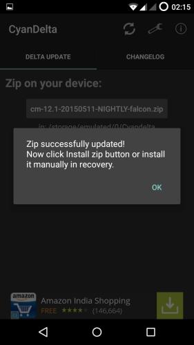 MotoG-XT1033-CyanogenMod-121-CyanDelta-OTA-Update-Success