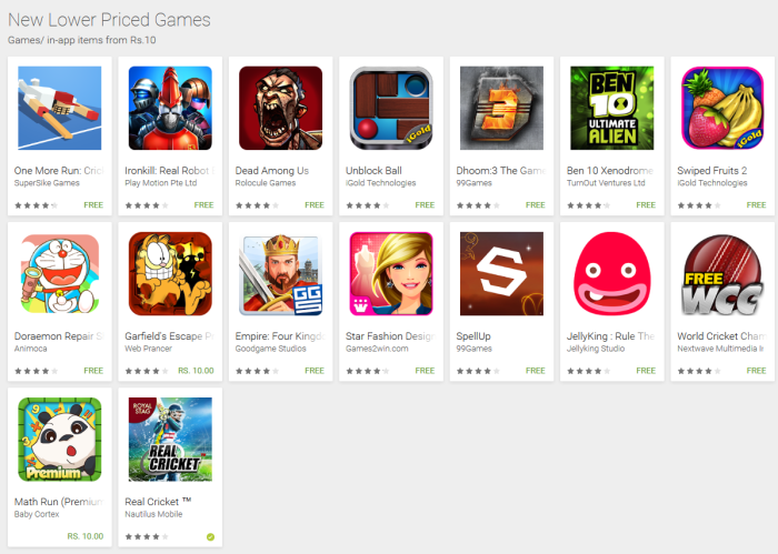 "Google Play New Lower Priced games - Google Play adds ""New Lower Priced Apps and Games"" sections to highlight discounted content"