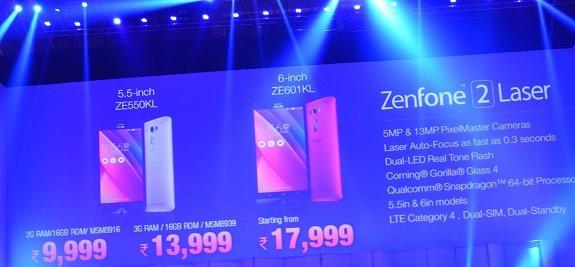 Zenfone 2 Laser pricing in India