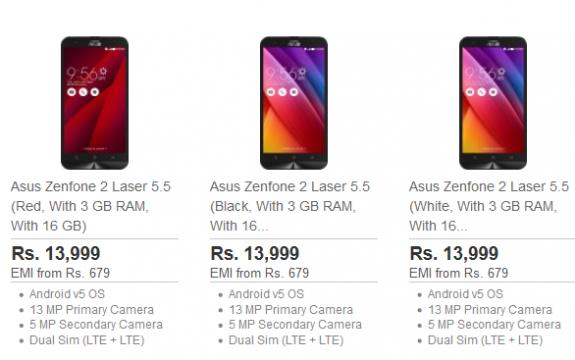 ASUS Zenfone 2 Laser 3GB RAM SD615 colours