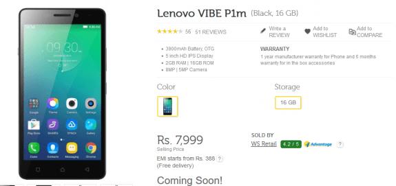 Lenovo Vibe P1m open sale