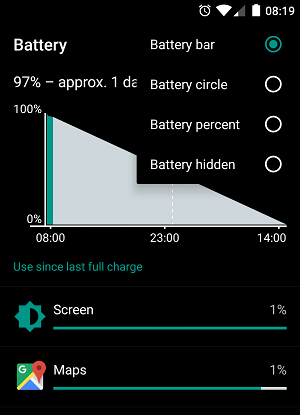 OneplusX Battery percentage