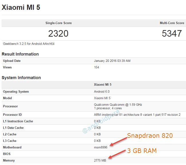 Xiaomi Mi 5 Geekbench