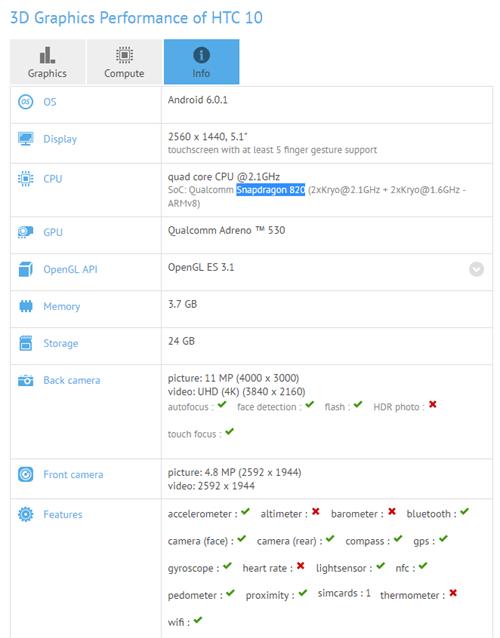 HTC 10 gfxbench