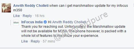 Infocus M350 marshmallow update 1 - Infocus M350 will not get Android 6.0 Marshmallow update