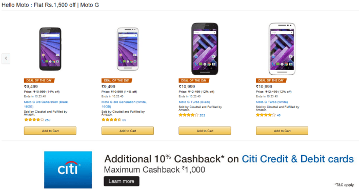 Moto G Amazon India Discount