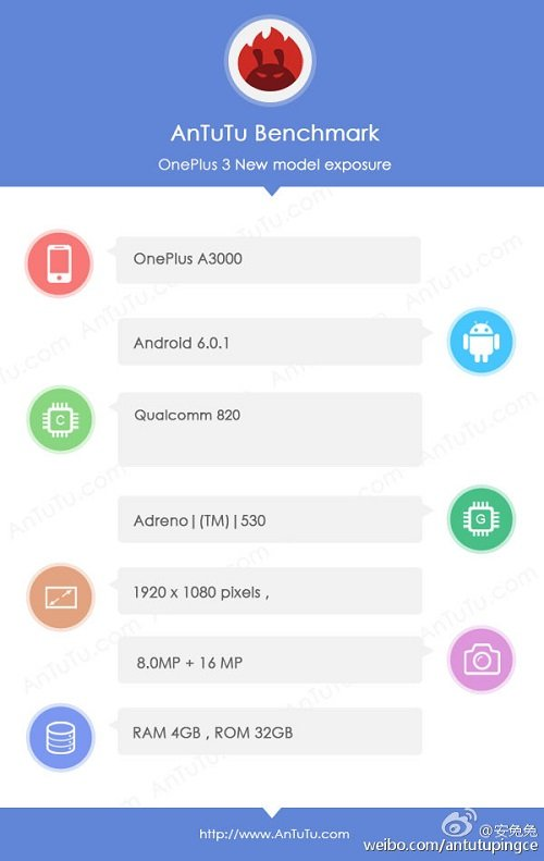 oneplus 3 - Oneplus 3 A3000 spotted on Antutu: Snapdragon 820, FHD, 16|8 MP