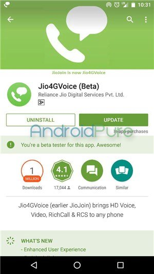 Jio4GVoice Beta app - JioJoin app renamed to Jio4GVoice (Beta), brings a new UI with it
