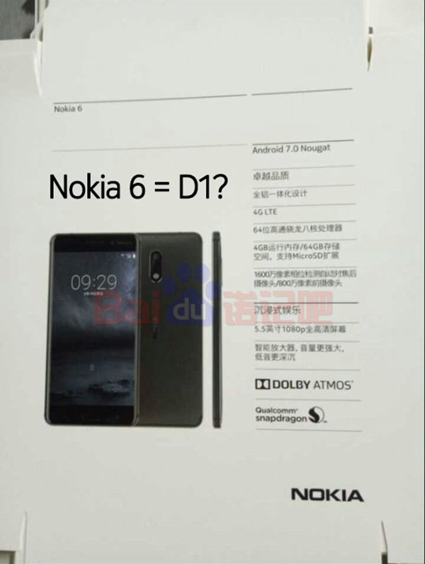 Nokia 6 - Nokia 6 specs, Render with Octa-core Snapdragon SOC, 4 GB RAM leaked