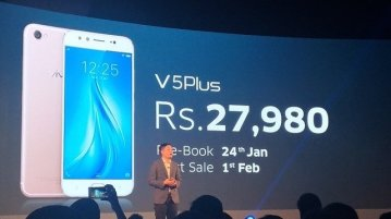 Vivo V5 Plus Price - Vivo V5 Plus with 20MP + 8MP dual front camera launched for Rs. 27,980