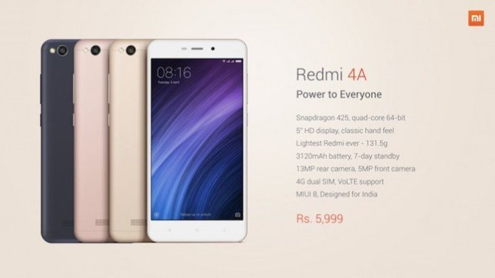 "Redmi 4A Specs pricing - Xiaomi Redmi 4A with 5.0"" HD display, SD 425 , 2 GB RAM, 3120 mAh battery launched for Rs. 5,999"