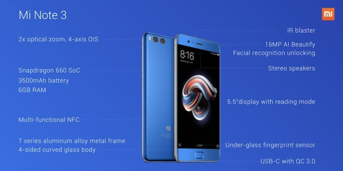 Xiaomi Mi Note 3 Specs - Xiaomi Mi Note 3 launched with Dual Camera, Snapdragon 660, 6 GB RAM