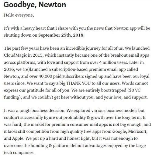 Newton Mail shuts down