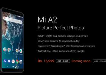 Xiaomi Mi A2 Android One India price
