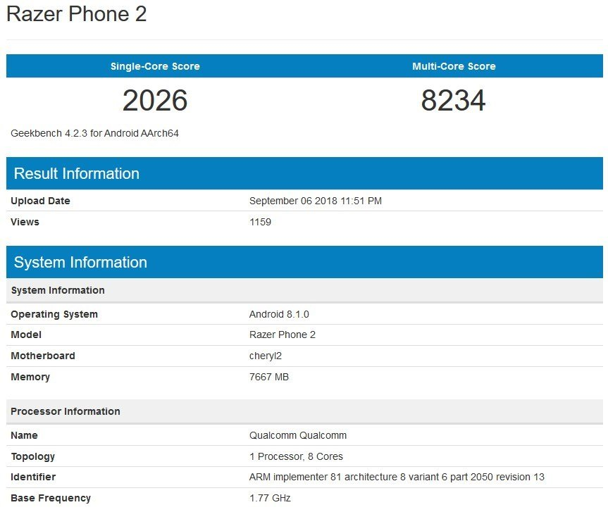 Razer Phone 2 benchmark Geekbench