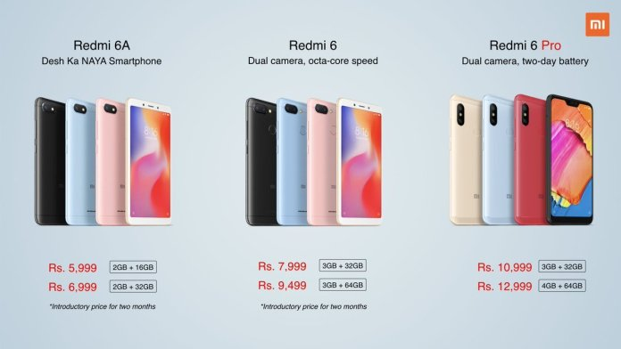 Redmi 6 6A 6Pro pricing Redmi 6, Redmi 6 Pro and Redmi 6A launched in India, price starting at Rs. 5,999 1