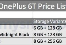 OnePlus 6T prices leaked