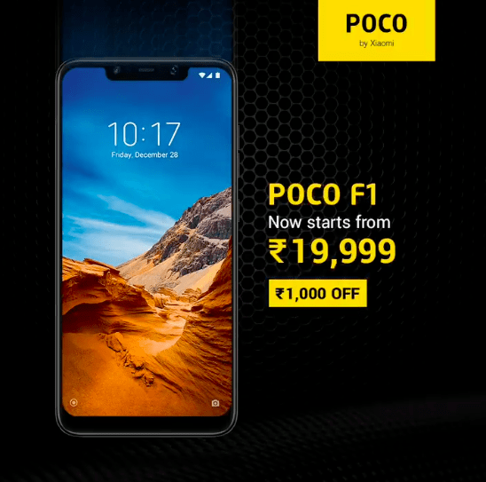 Poco F1 Price Drop Poco F1 price dropped by Rs. 1,000 permanently, starts at Rs. 19,999 1