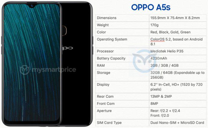 Oppo A5s Tech Specs