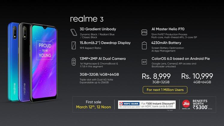 Realme 3 price in India