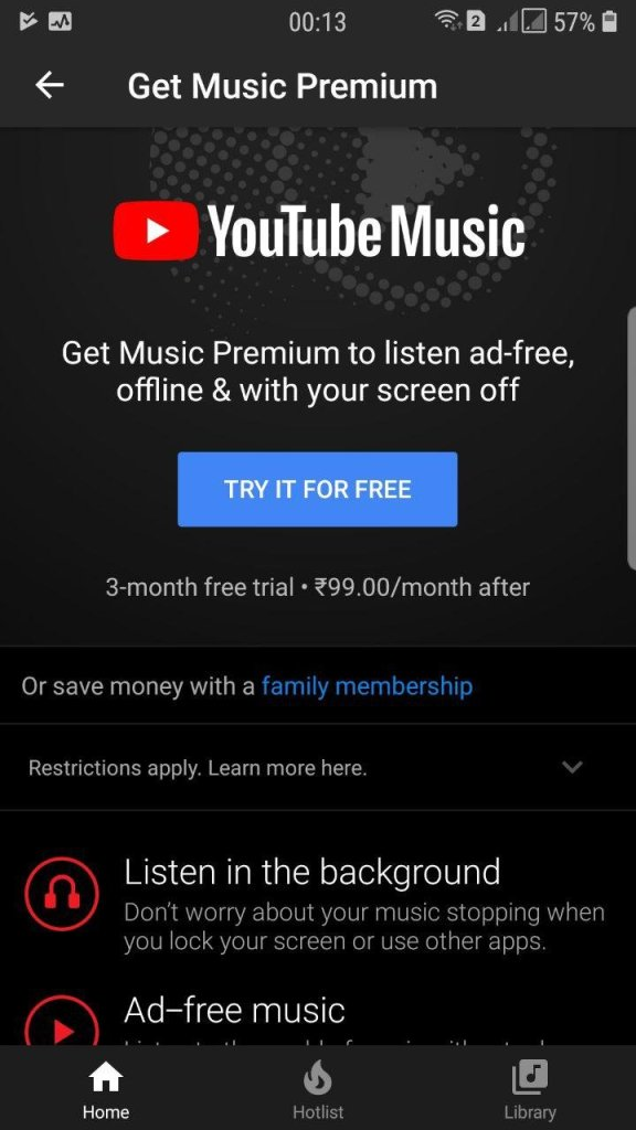 YouTube Music In India Price Comparison