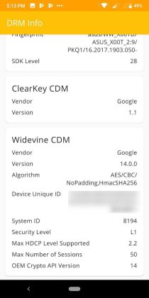 Android Pie Update for ASUS Zenfone Max Pro M1 Widevine