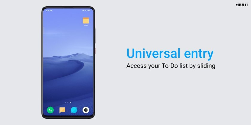MIUI 11 Tasks universal access