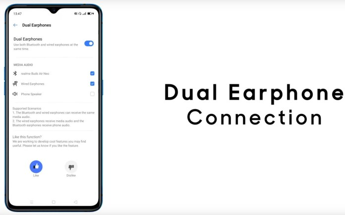 Realme ui features dual headphones connection