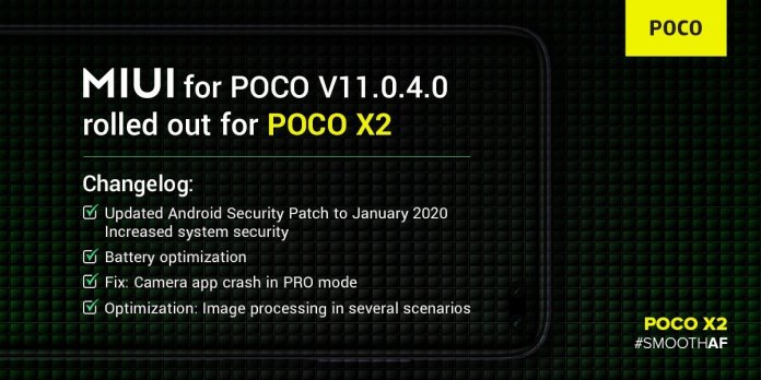 MIUI 11.0.4.0 Update for Poco X2 official