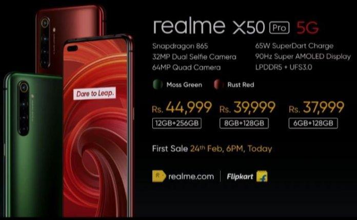 Realme x50 pro price in india