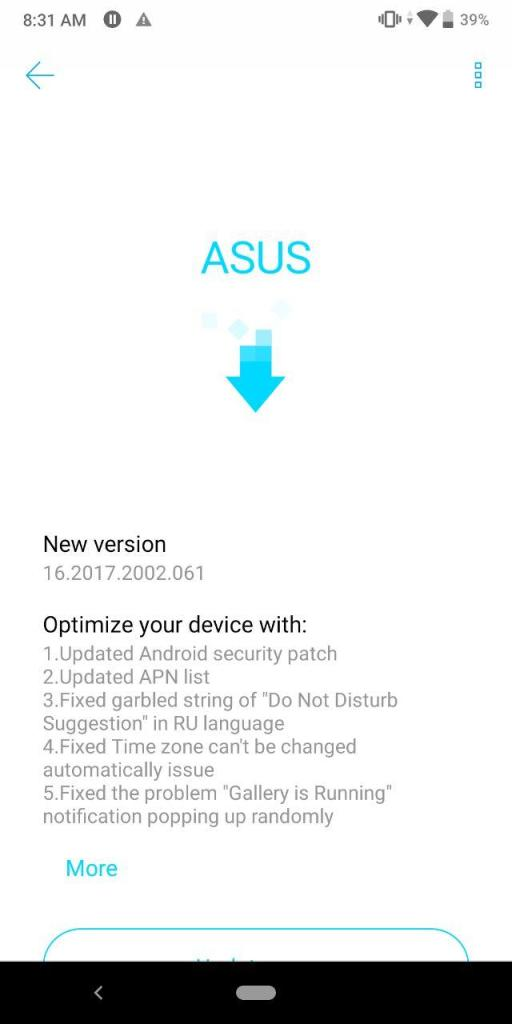 Asus Zenfone Max Pro M1 16.2017.2002.061 Update