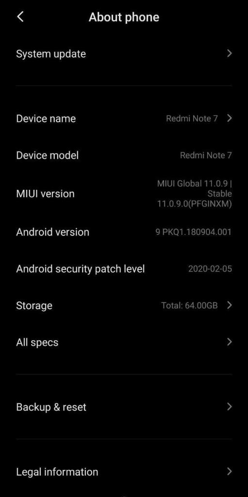MIUI 11.0.9.0 Update for Redmi Note 7