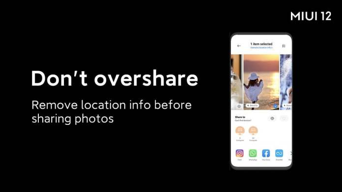 MIUI 12 Delete location info from photos