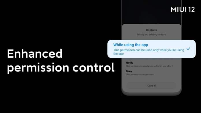 MIUI 12 Permission Controls