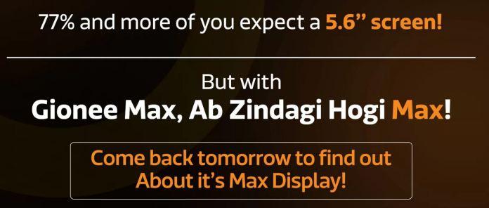 Gionee Max display size