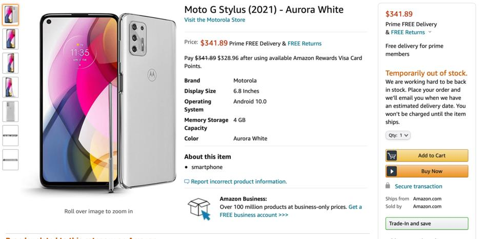 Moto G Stylus 2021 Aurora White