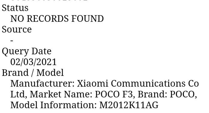 Poco F3 model number fcc