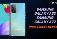 Samsung Galaxy A52 & Galaxy A72 India prices leaked