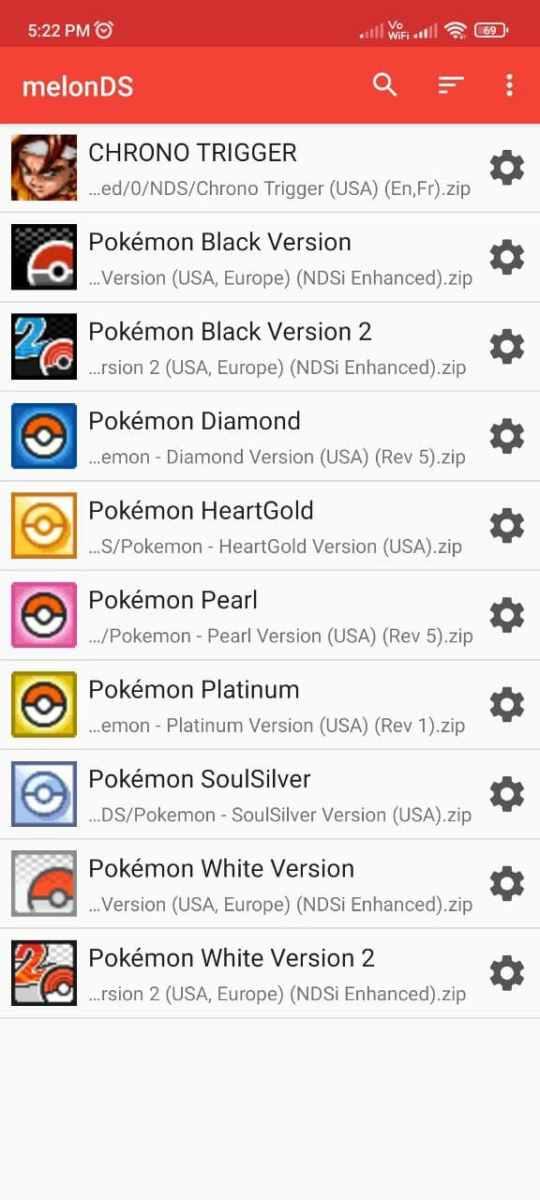 MelonDS emulator Games list