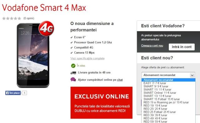 bh;uigty53ecvoiysdp89wyfr Vodafone Smart 4 Max Primul Phablet Vodafone