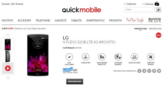 quicklgglfex Pret LG G Flex 2 La Quickmobile
