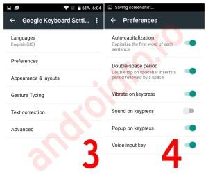 Setari tastatura Android